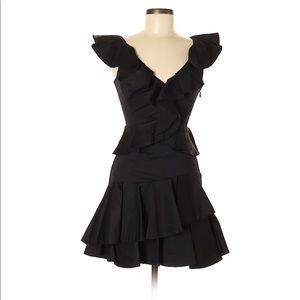 NWT Rebecca Taylor Ruffle Dress 00 Black